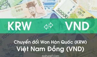 Chuyển đổi Won Hàn Quốc